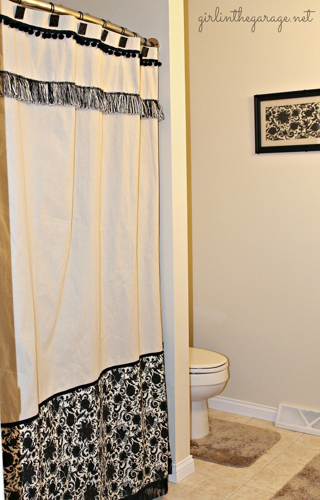 6. Black and White Shower Curtain via Simphome