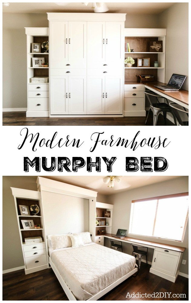 7. Modern Farmhouse Murphy Bed via Simphome