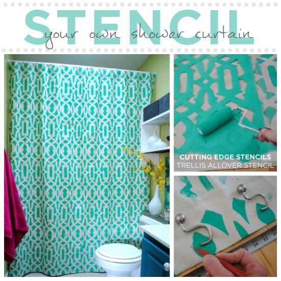 7. Stenciled Shower Curtain via Simphome