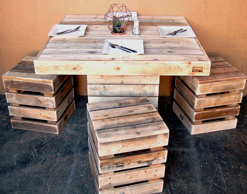 8. Upcycled Wooden Pallet Dining Table via Simphome
