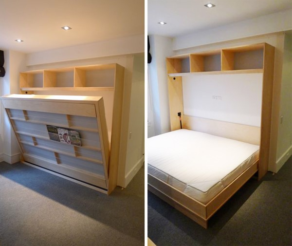 9. Murphy Bed behind a Bookshelf via Simphome