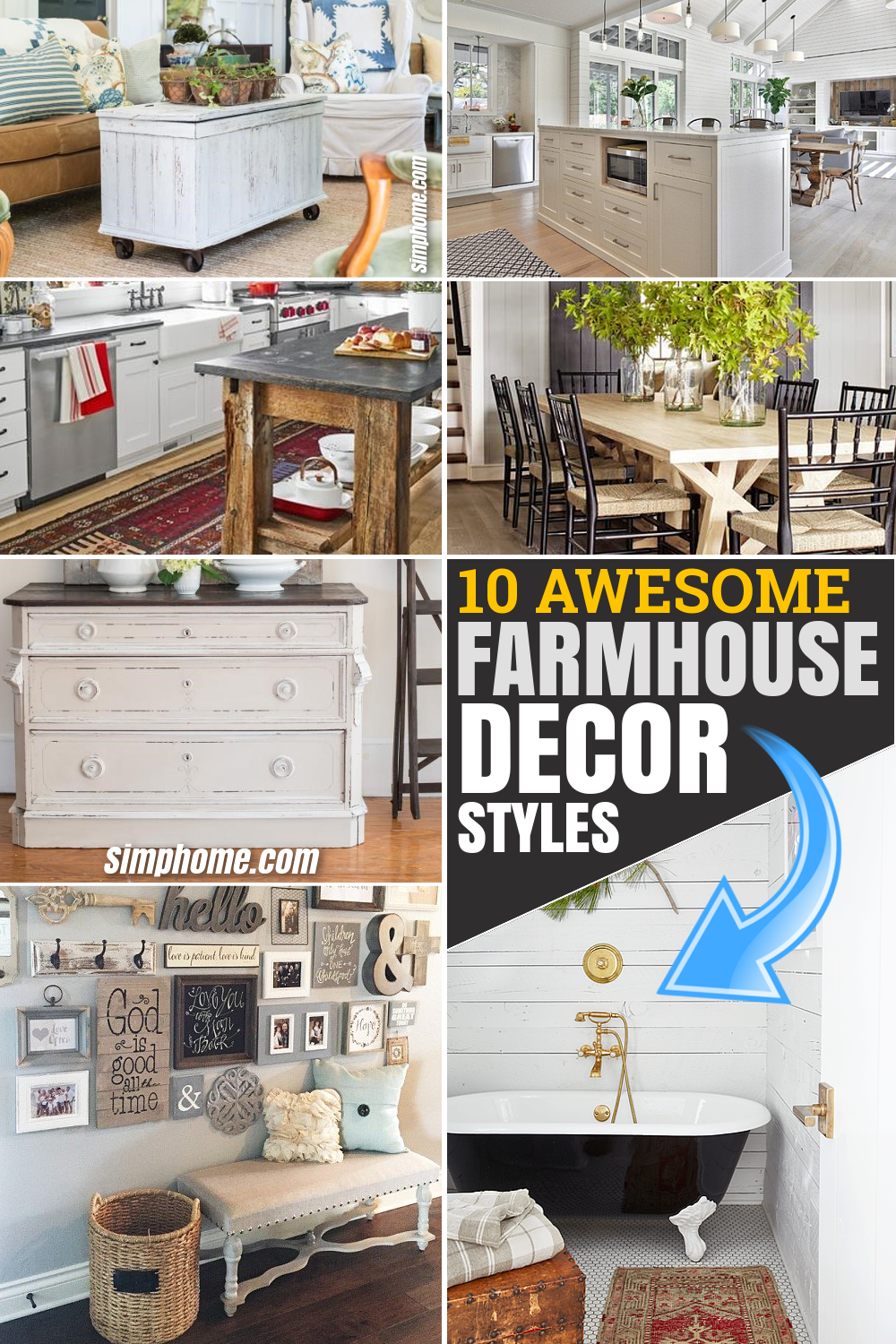 10 Awesome Farmhouse Decor Style Deserve Your Attention via Simphome.com Pinterest Featured image