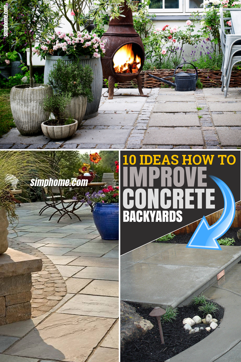 10 CREATIVE IDEAS HOW TO IMPROVE CONCRETE BACKYARDS via SIMPHOME.COM Featured Pinterest Image