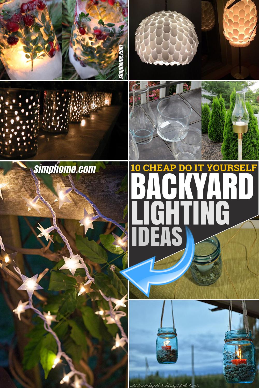 10 Cheap DIY Backyard Lighting Ideas via SIMPHOME.COM Pinterest Featured Image