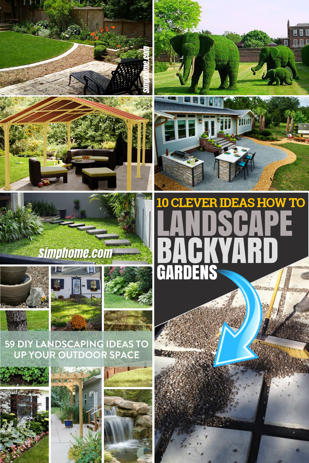 10 Clever DIY Ideas How to Landscaping Backyard Garden via Simphome.com Featured Pinterest Image