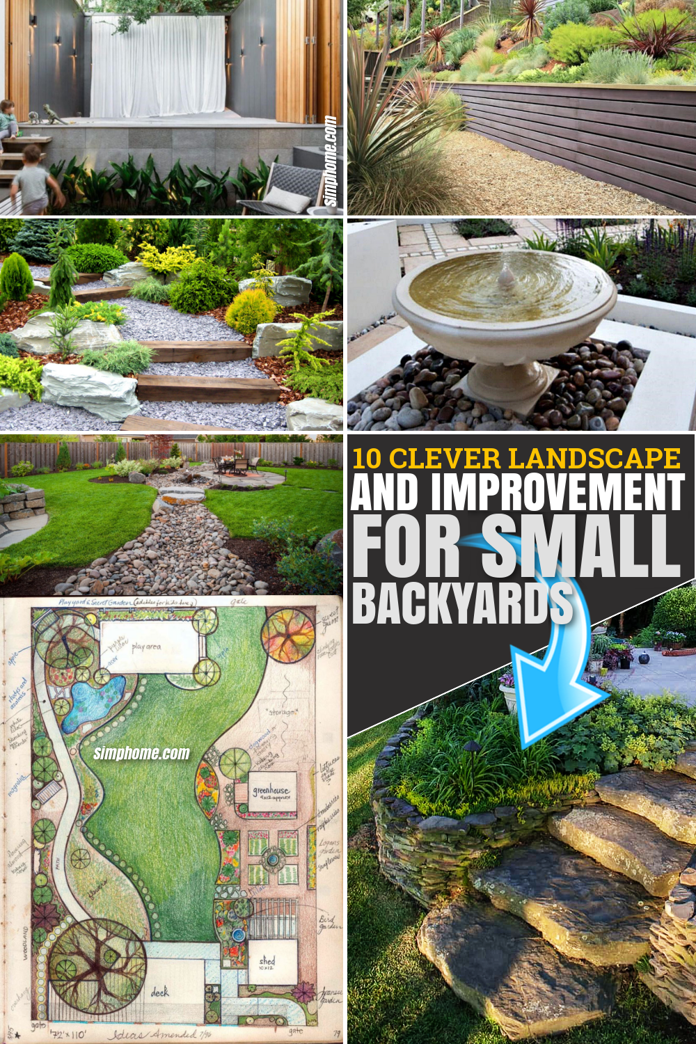 10 Clever Landscape design plans and improvement for a small backyard Via SIMPHOME.COM Pinterest Featured Image
