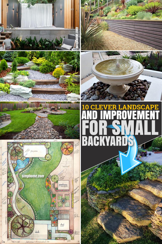 10 Clever Landscape design plans and improvement for a small backyard Via SIMPHOME.COM Pinterest Featured Image