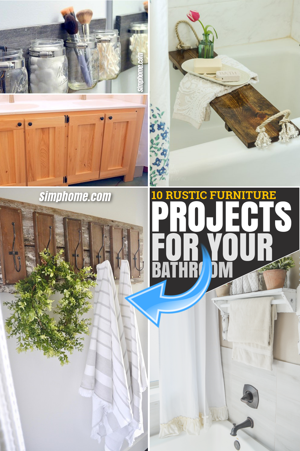 10 DIY Rustic Furniture Projects for Your Bathroom via SIMPHOME.COM Pinterest Featured Image