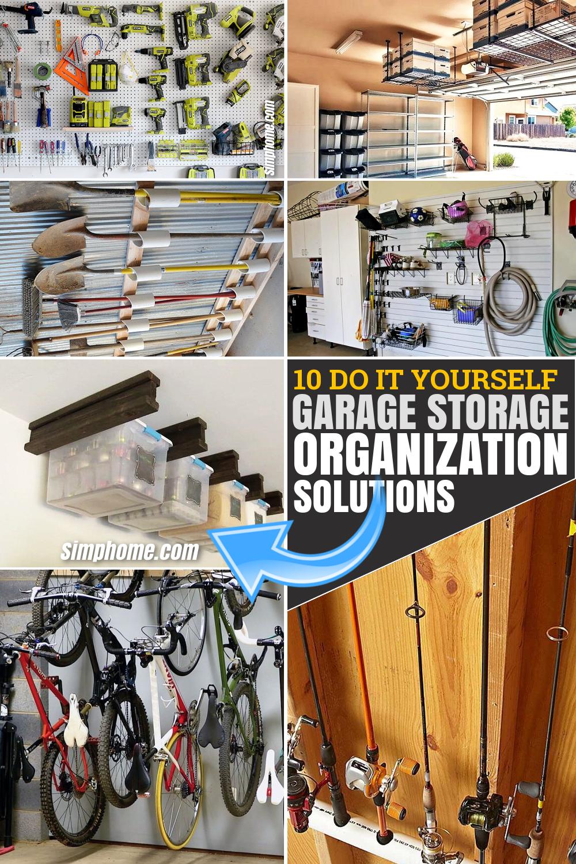10 DIY garage organization and storage ideas via SIMPHOME.COM Featured Pinterest Image