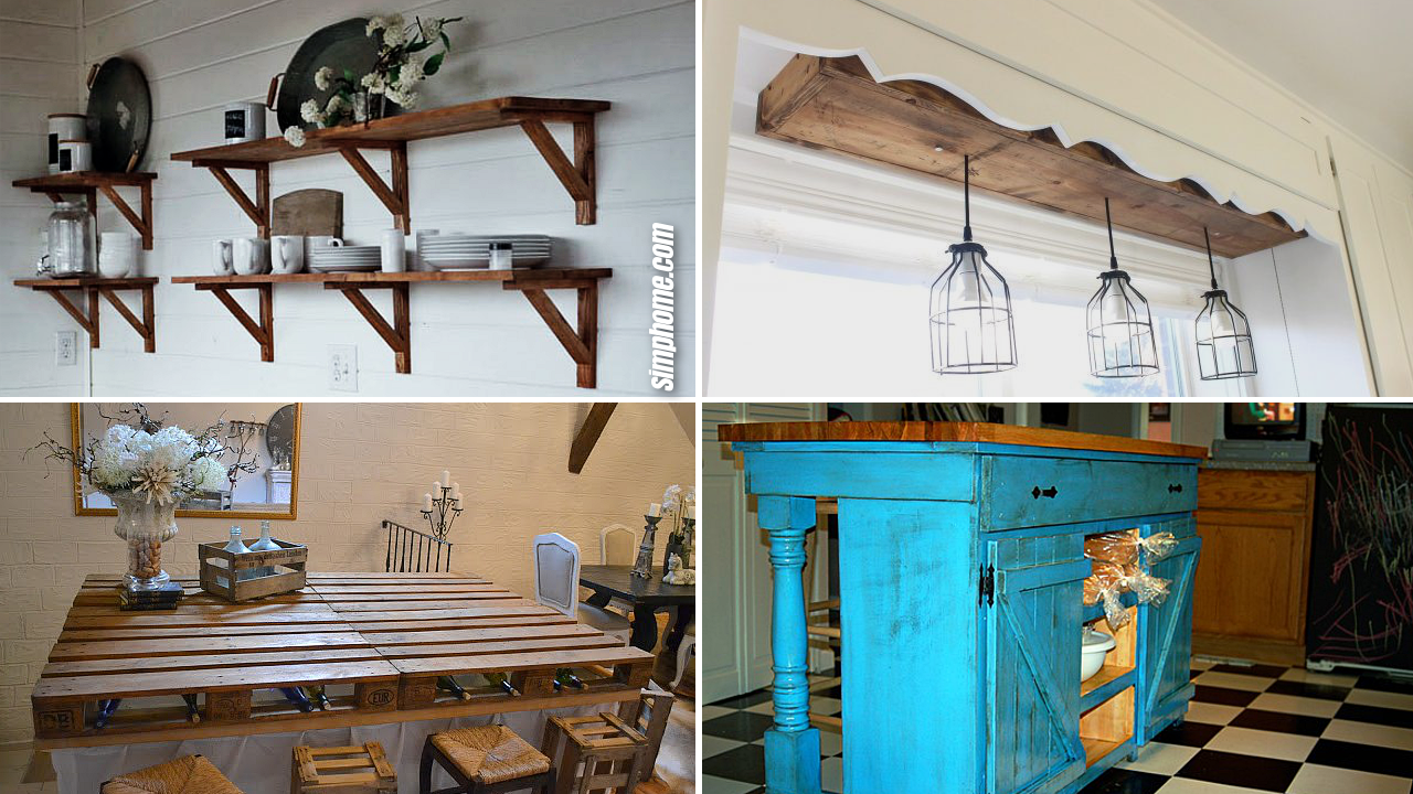 10 DIY rustic furniture projects for kitchen via Simphome.com