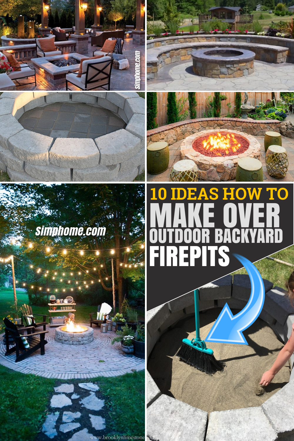 10 Ideas How to Makeover Outdoor Backyard Firepits via SIMPHOME.COM Featured Pinterest Image