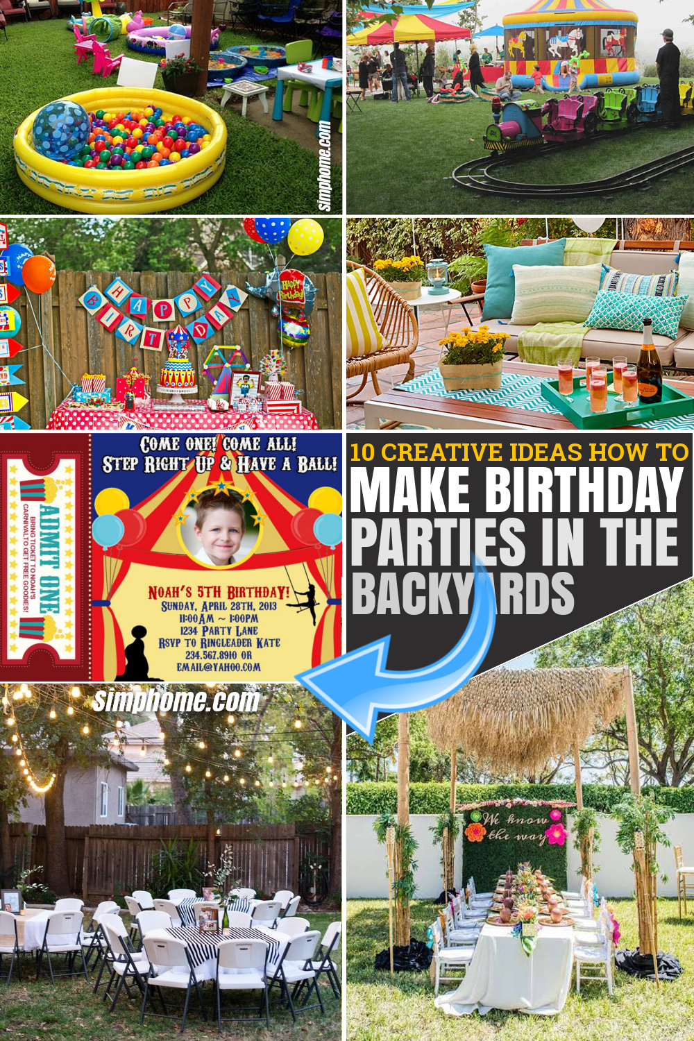 10 Ideas to Make Birthday Party in The Backyard via SIMPHOME.COM Pinterest Featured Image