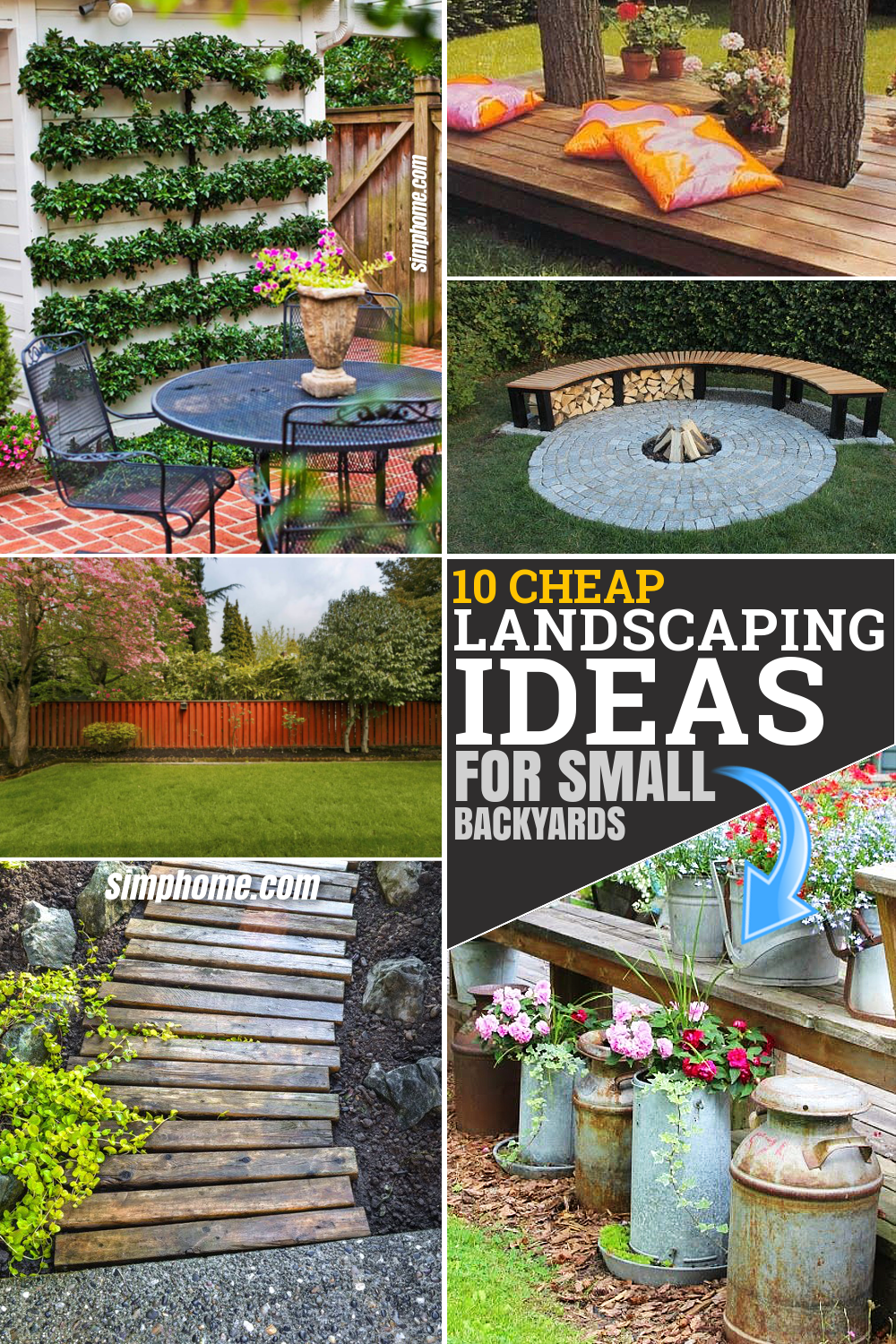10 cheap landscaping ideas for small backyards via Simphome.com Featured Pinterest Image