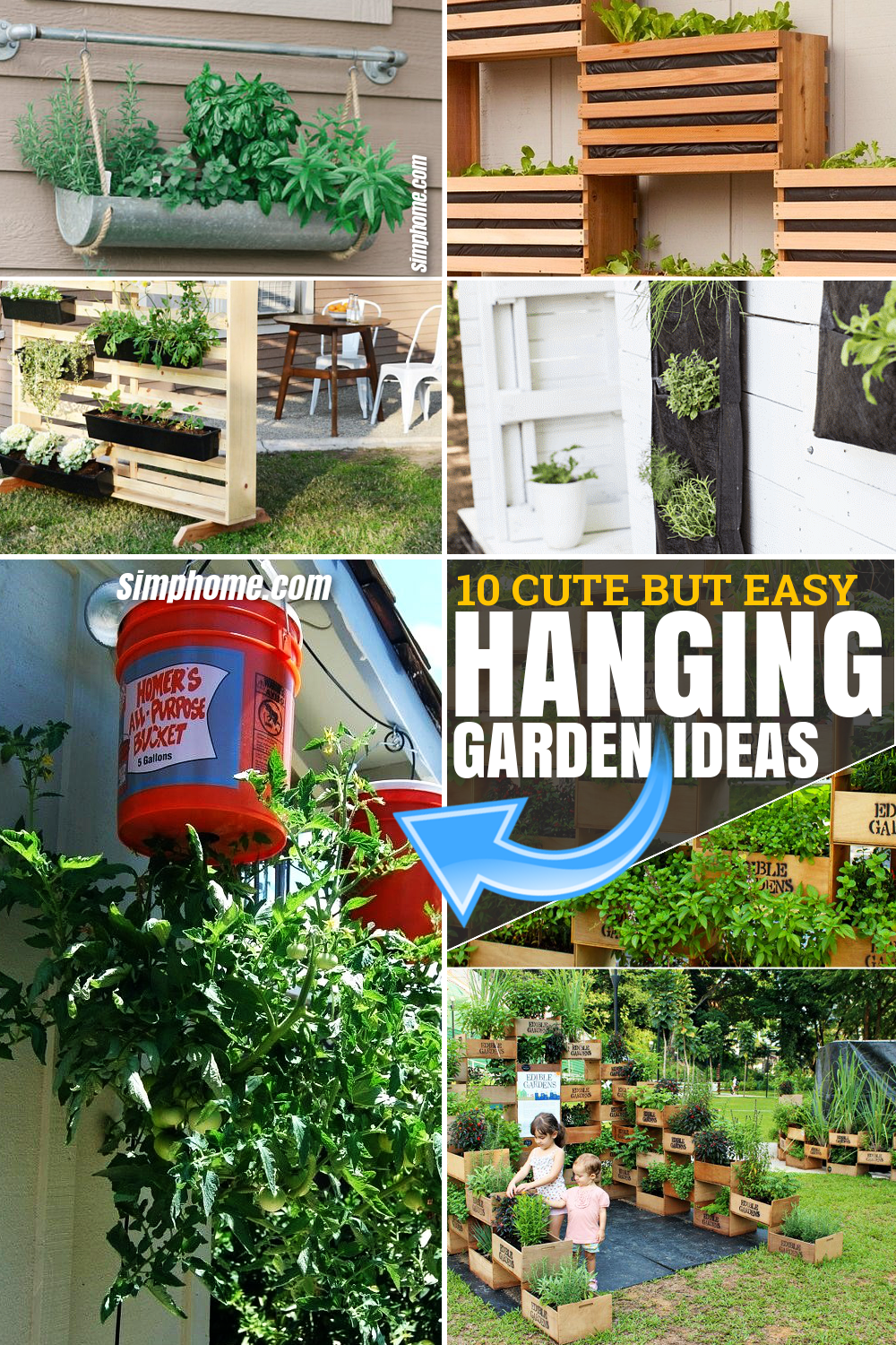 10 cute but easy hanging garden ideas via SIMPHOME.COM Featured Pinterest Image