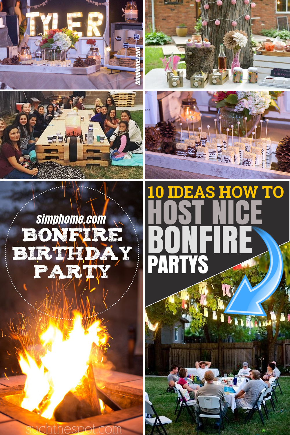10 ideas How to host fun backyard bonfire parties via SIMPHOME.COM Featured Pinterest Image