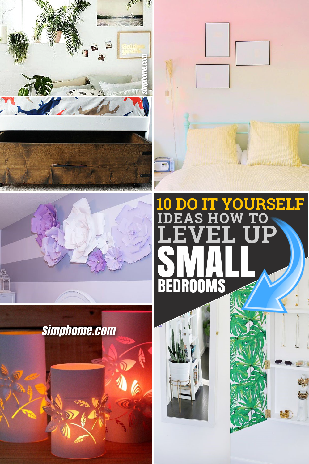 10 ideas how to level up small bedrooms via SIMPHOME.COM Featured Pinterest Image