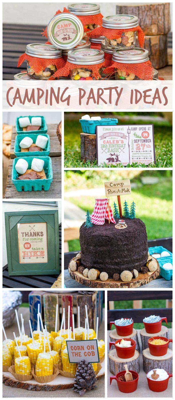 11.backyard camping boy birthday party with fun foods smores mason via SIMPHOME.COM
