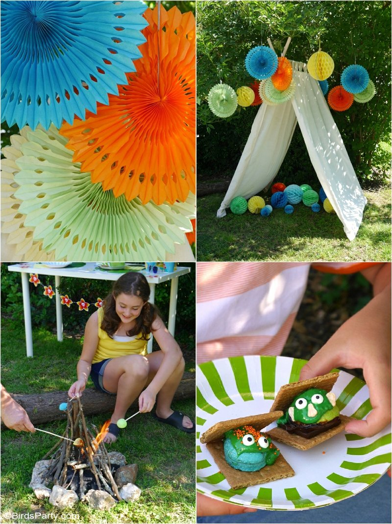 15.a summer backyard camping party with free printables party ideas via SIMPHOME.COM