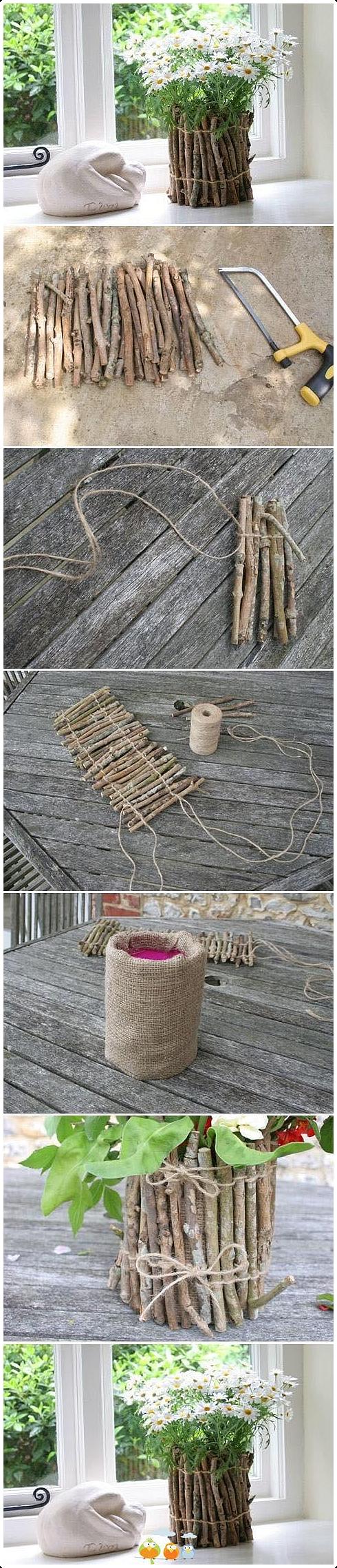2. Attractive DIY Twig Flower Pot via SIMPHOME.COM
