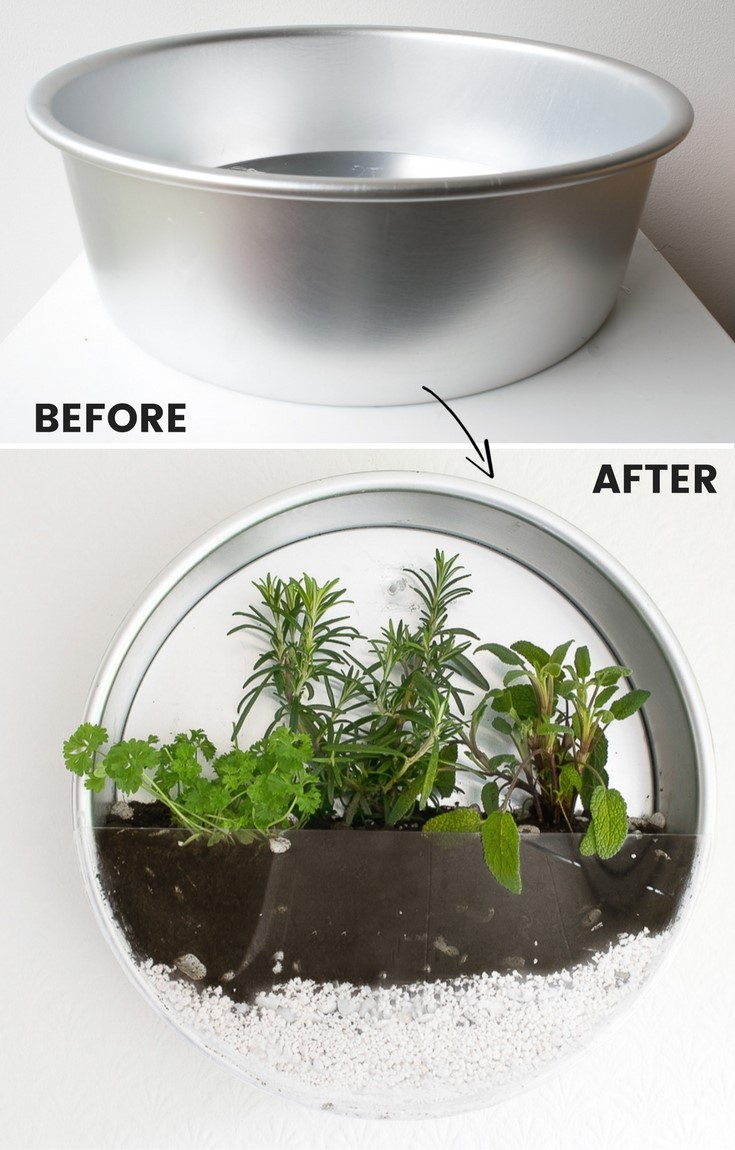2. Indoor Herb Garden with Baking Tin via Simphome