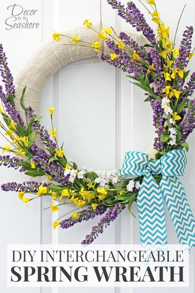 3. DIY Beautiful Spring Wreath via SIMPHOME.COM