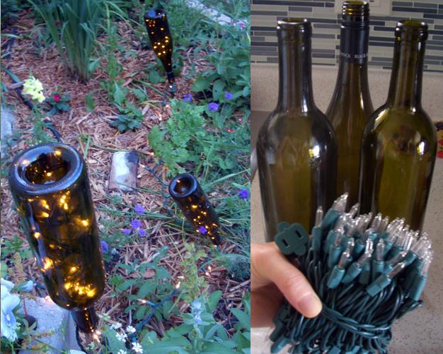 3. Garden Lights from Glass Bottles and String Lights via SIMPHOME.COM