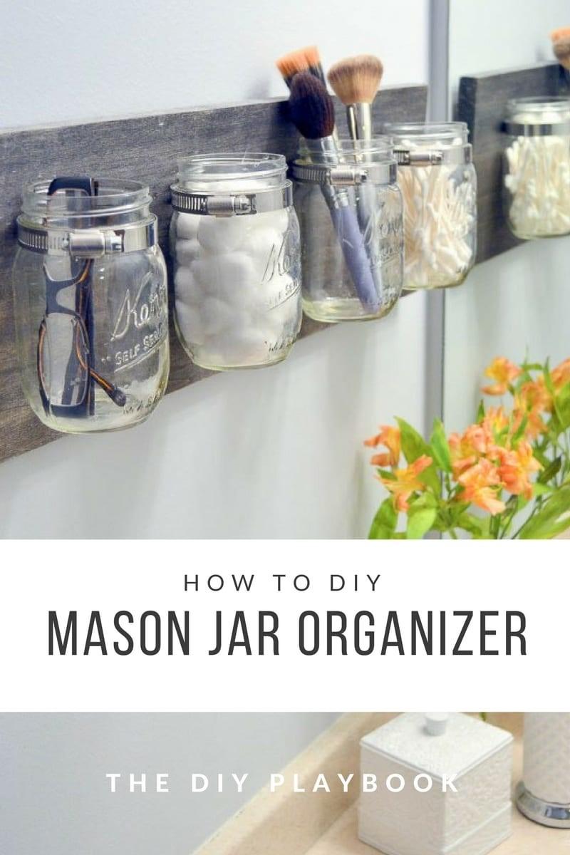 3. Mason Jar Organizer via SIMPHOME.COM