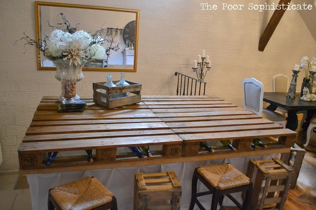 4. Old Wooden Pallet Kitchen Table via Simphome