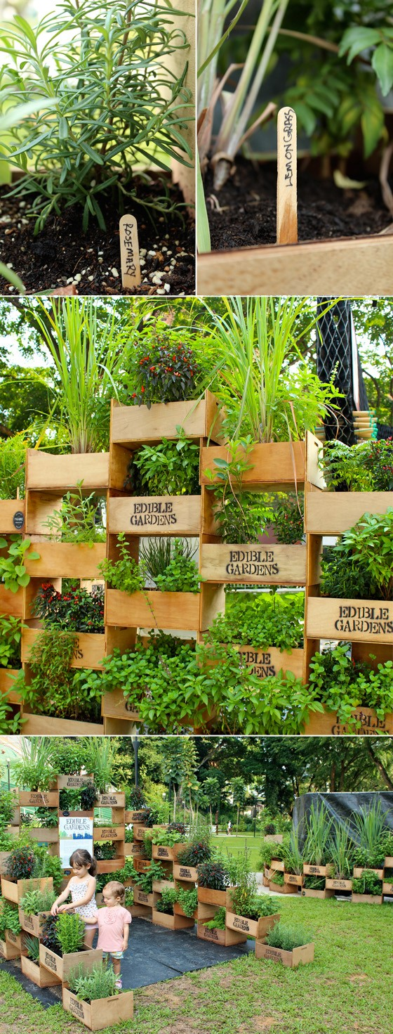 4. Stacked Crates Mini Garden Project Idea via Simphome.com