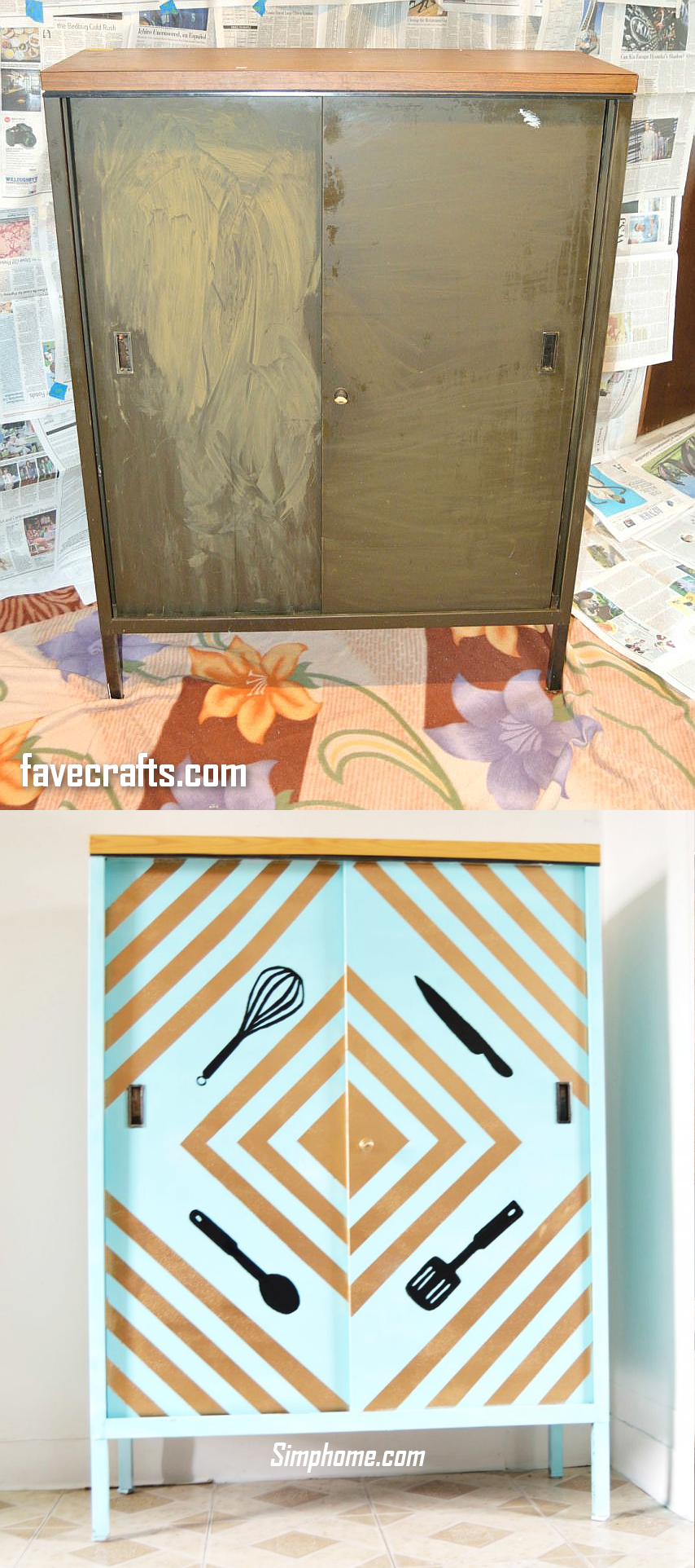 5. Crafty Kitchen Cabinet Makeover via Simphome.com