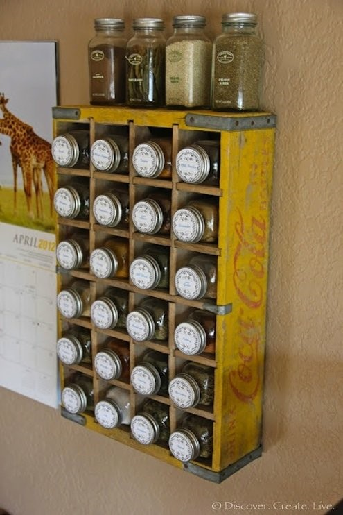 5. Spice Rack from Coca Cola Crate via Simphome