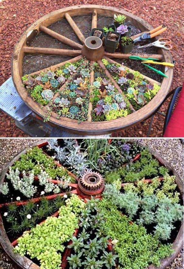 7. Old Wagon Wheel Raised Bed via Simphome