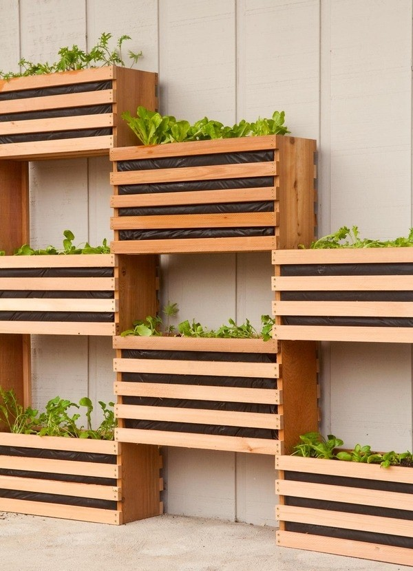 8. Wooden Boxes hanging Garden project Idea via Simphome.com