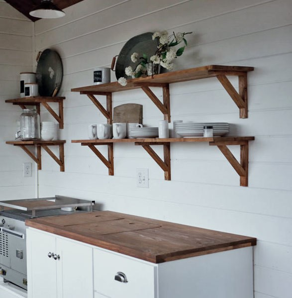 9. Open Kitchen Cabinet Shelving via Simphome