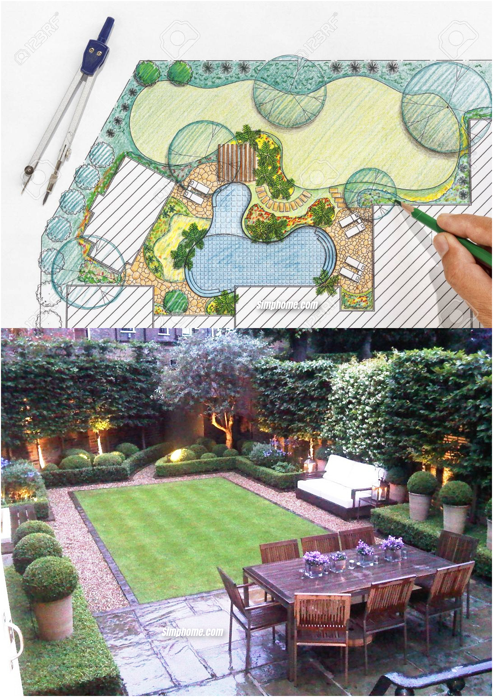 Simphome.com landscape architect design backyard plan for villa ideas