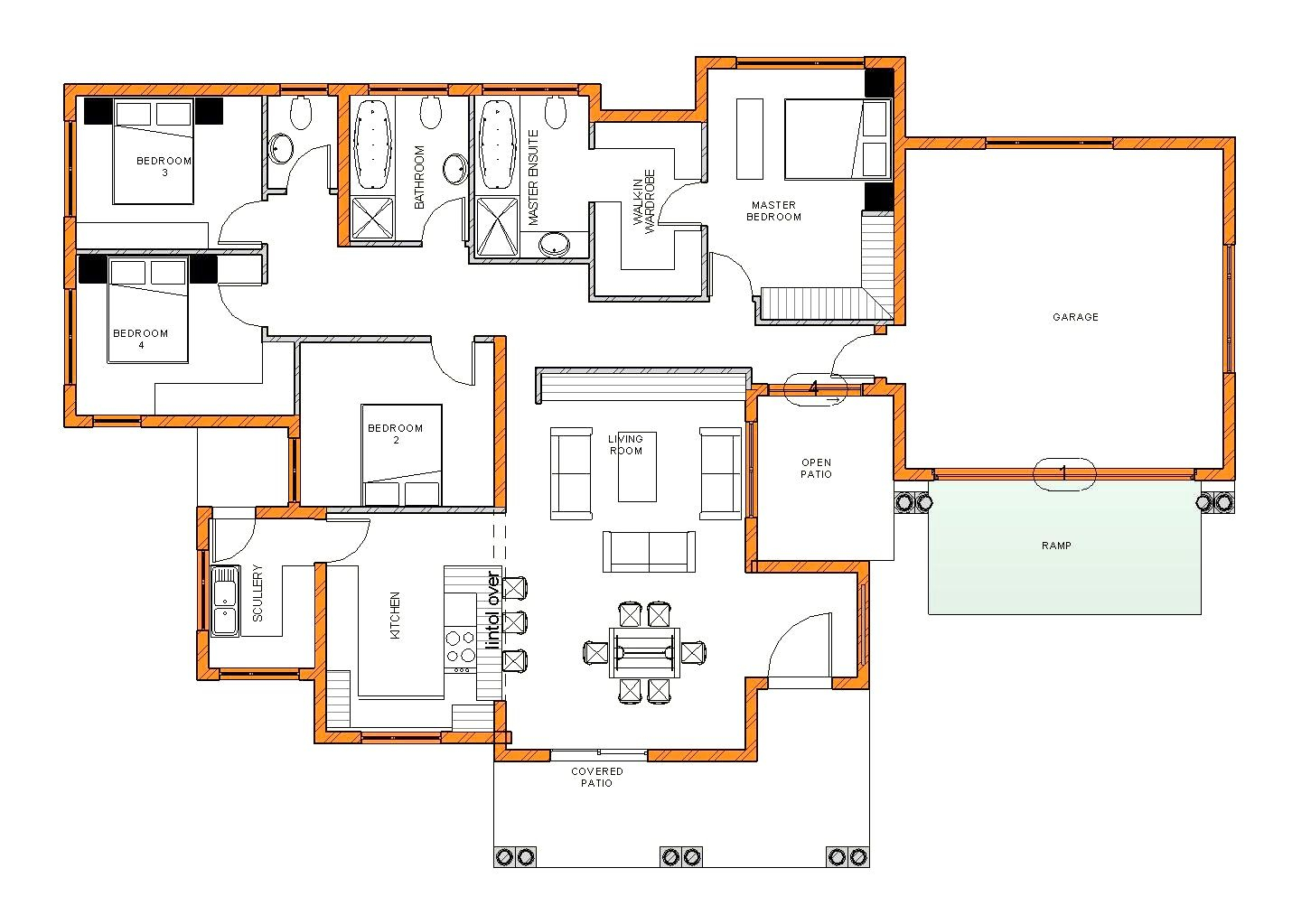 1. 4 bedroom house plan with three different sizes south africa stunning tuscan corglife