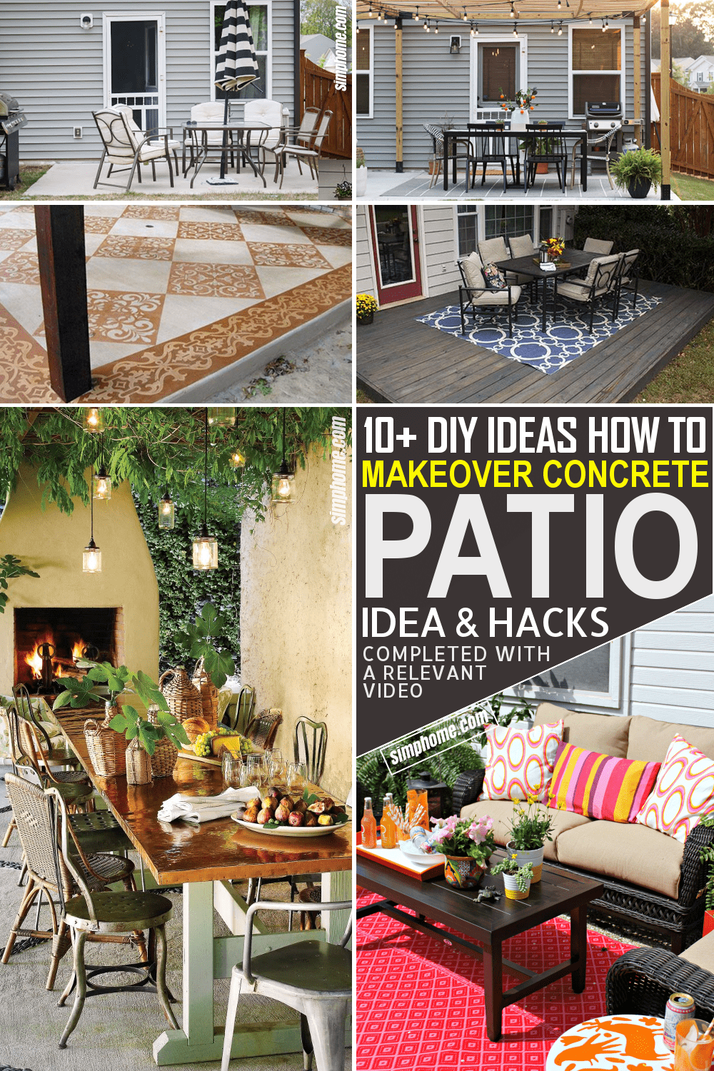 10 Ideas How to Makeover Concrete Patio for a Small Backyard via Simphome.com
