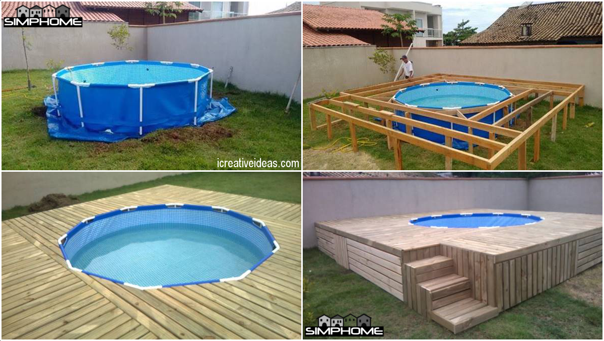 10.Simple Above Ground Pool with Deck via Simphome.com