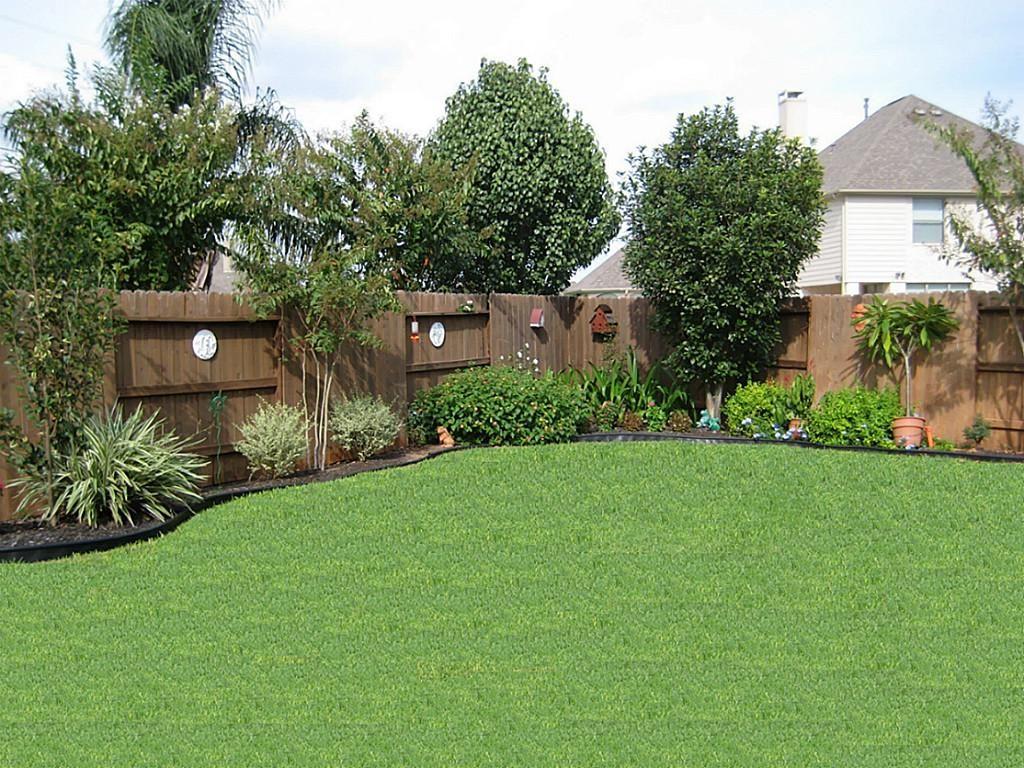 15.SIMPHOME.COM trees along fence garden pool backyard