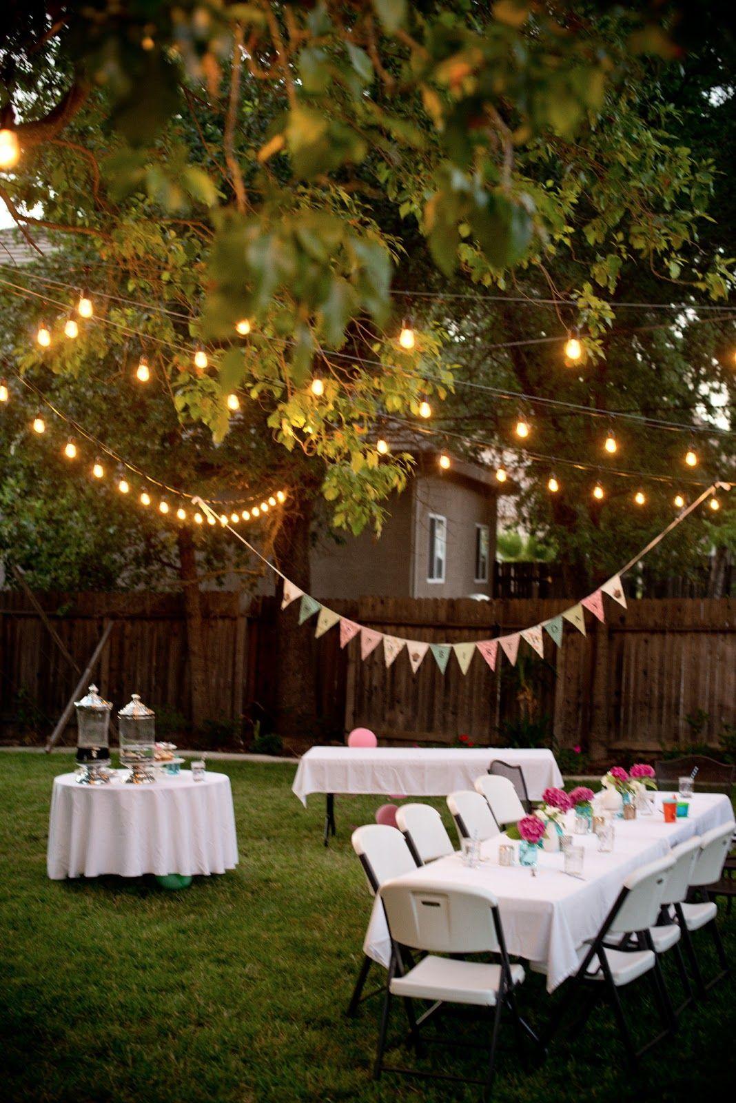16.SIMPHOME.COM backyard birthday fun pink hydrangeas polka dot napkins garden