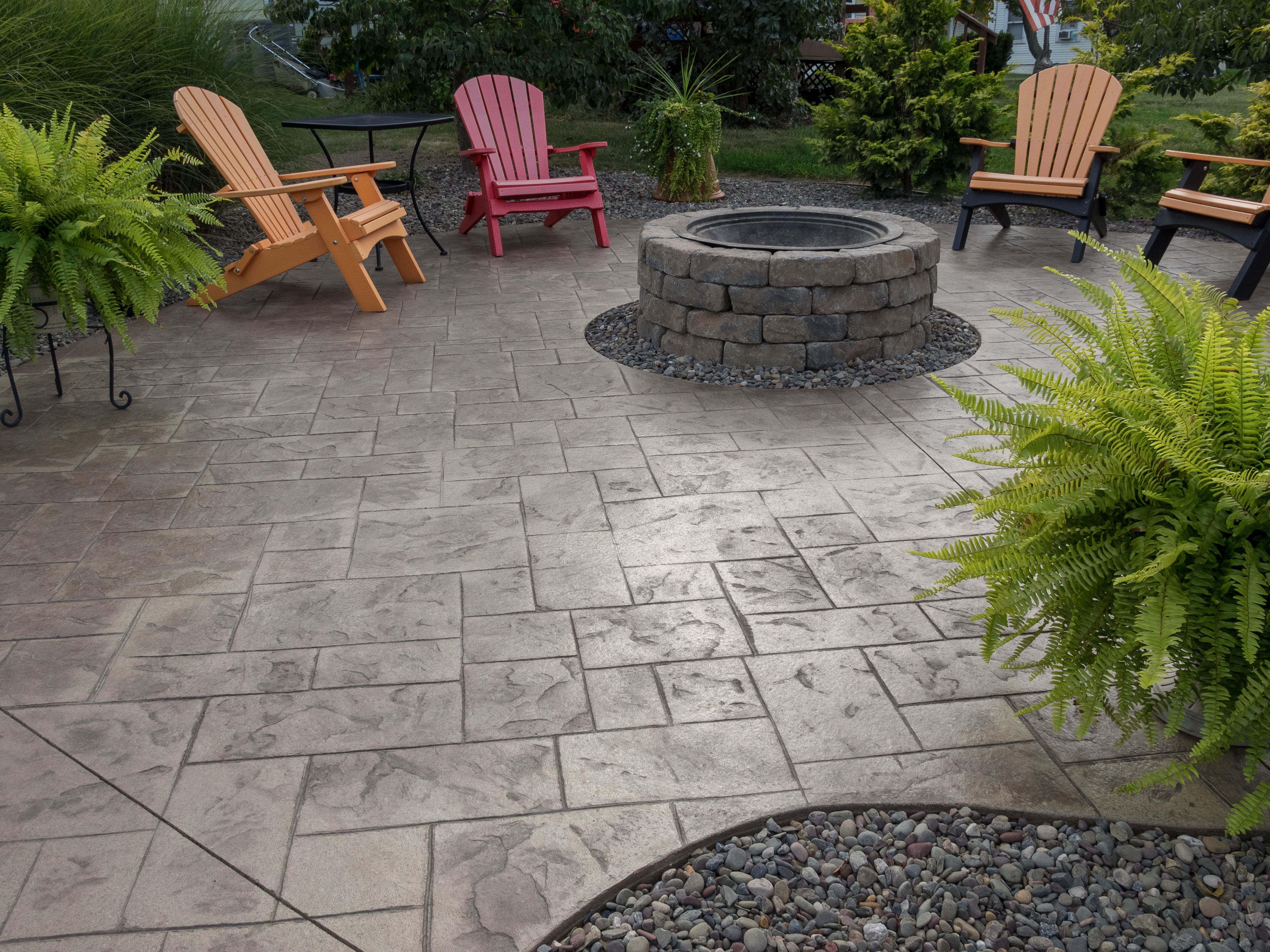 16.SIMPHOME.COM stamped concrete patio with paver fire pit yard in 2019