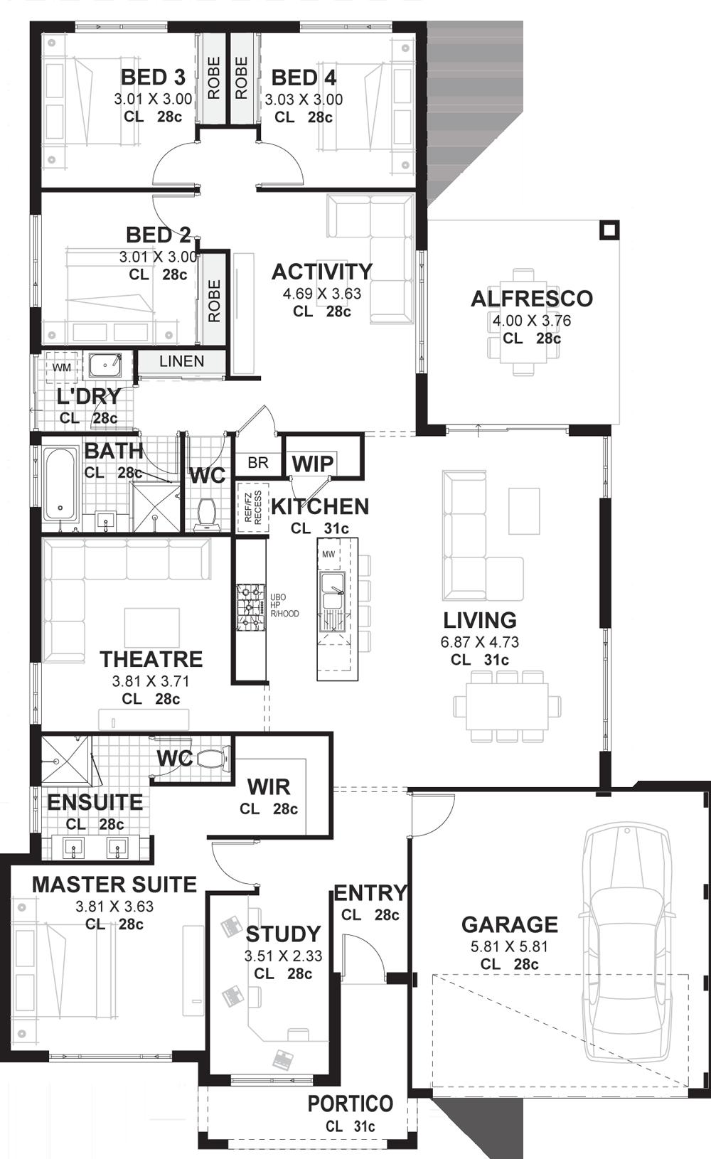 17 SIMPHOME.COM 4 bedroom house plans home designs perth vision