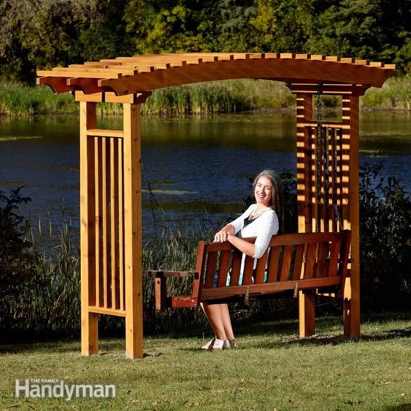 2.SIMPHOME.COM 10 DIY Outdoor Wood Projects Arbor with Swing