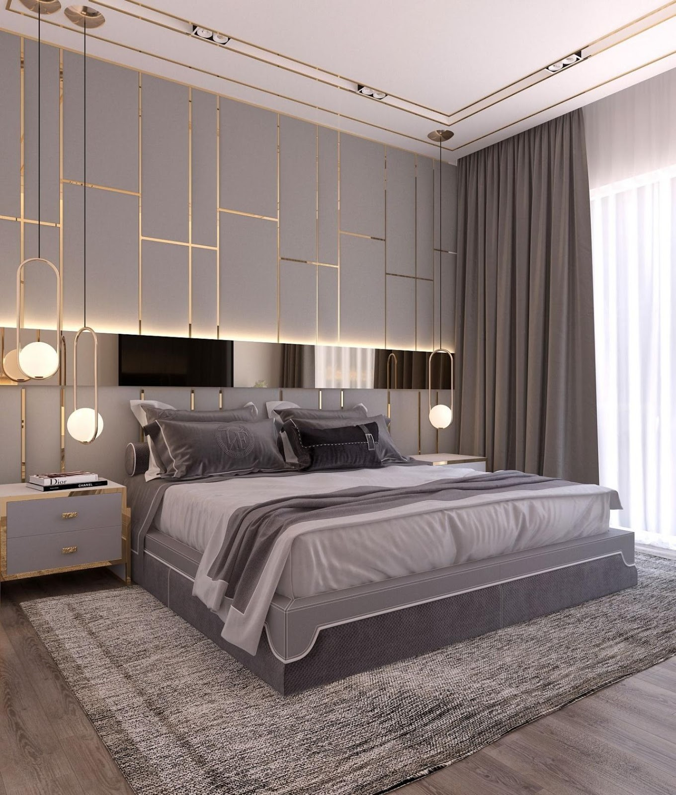 2.SIMPHOME.COM Grey Bedroom with Gold Lines