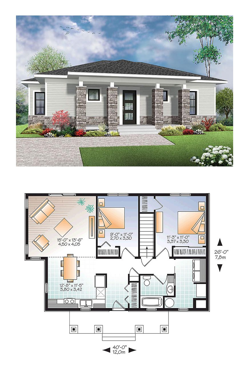 2.SIMPHOME.COM modern house plan living area 1007 sq ft 2 for 4 bedroom modern house