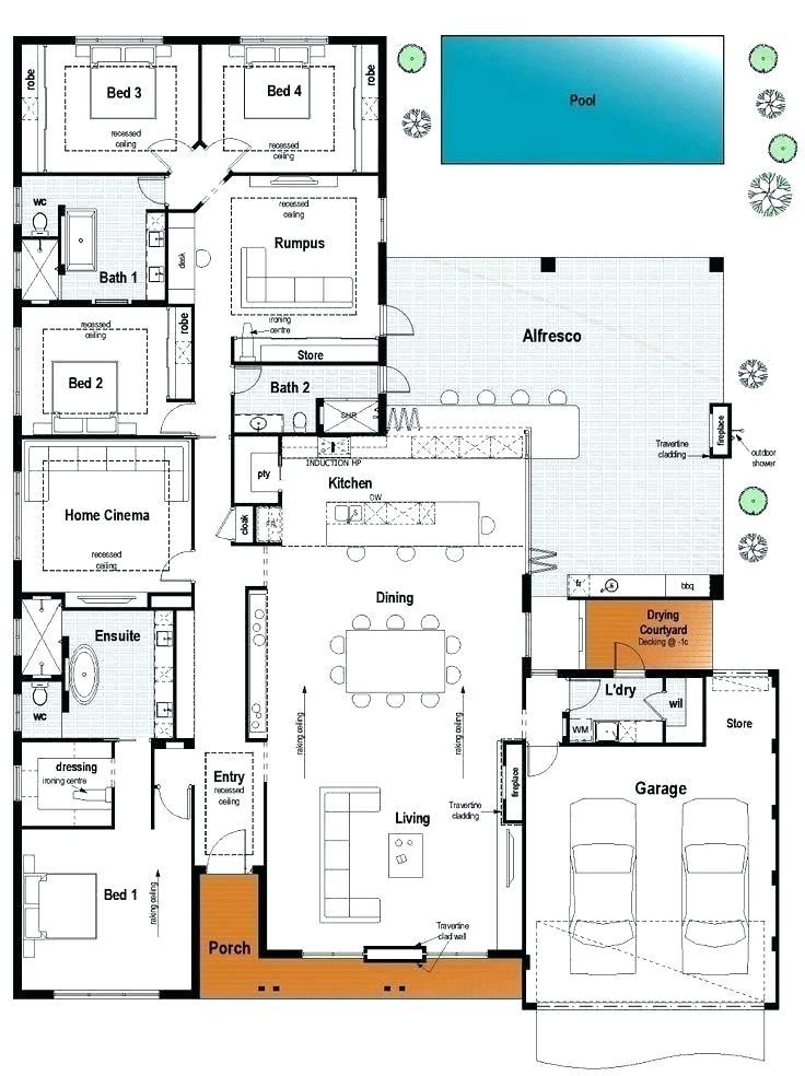 3.modern family floor plans via SIMPHOME.COM