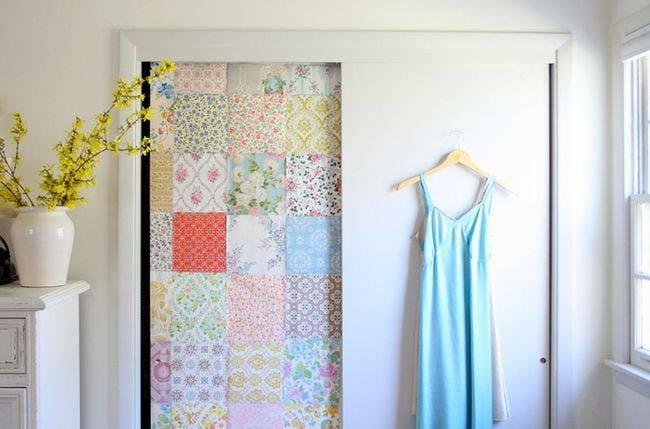 4. Give your cabinet door wallpaper.via SIMPHOME.COM