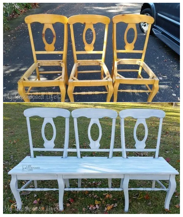4. SIMPHOME.COM Chairs into Bench