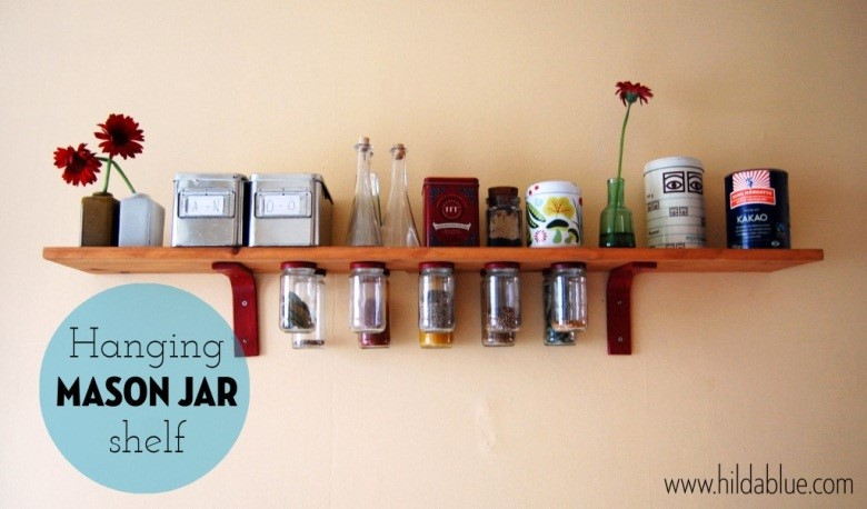4. SIMPHOME.COM Floating Shelves with Hanging Spice Jars