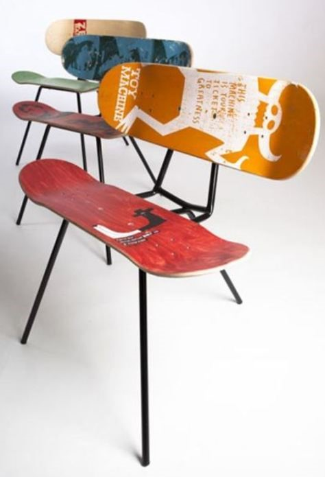 4. Skateboard Chair via SIMPHOME.COM